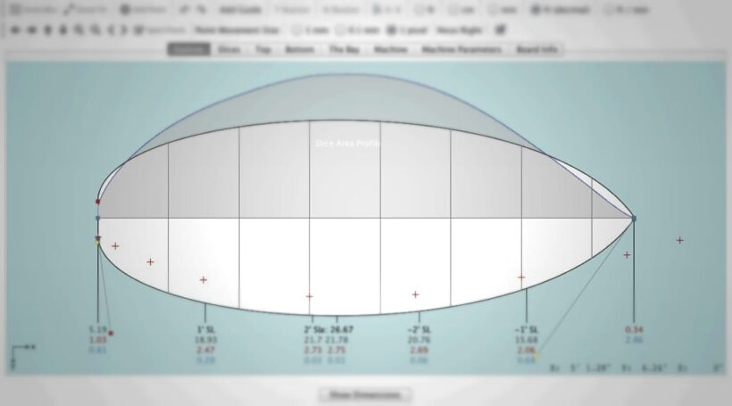 Aku Shaper Screenshot des Kitesurfboards