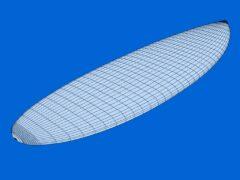 Kiteboard Aku Shaper Wireframe-Ansicht
