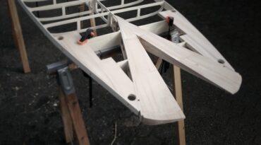 Holz-SUP mit Fishtail – Zwischenstand