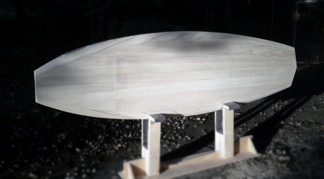 Kompaktes Allround-SUP aus Holz - Zwischenstand