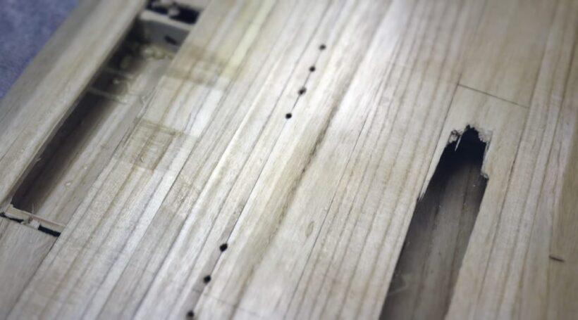 Hollow-Wood-Surfboard Bruch Oberdeck