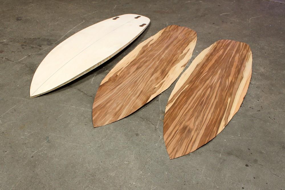 5 8er surfboard mit satin nussbaum furnier hollow wood wooden surfboards. Black Bedroom Furniture Sets. Home Design Ideas