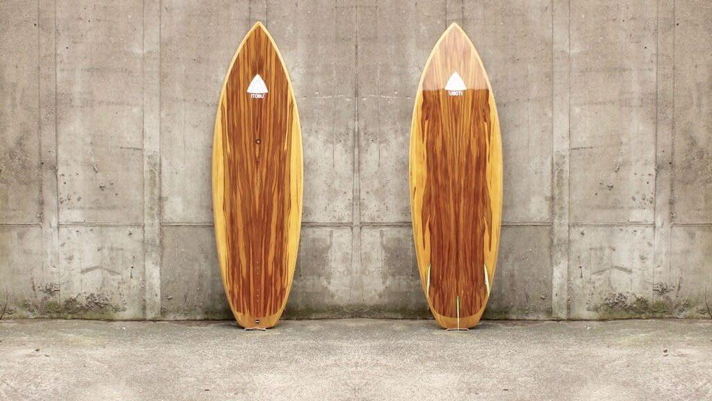 Kite-Surfboard mit Satin-Nussbaum-Furnier