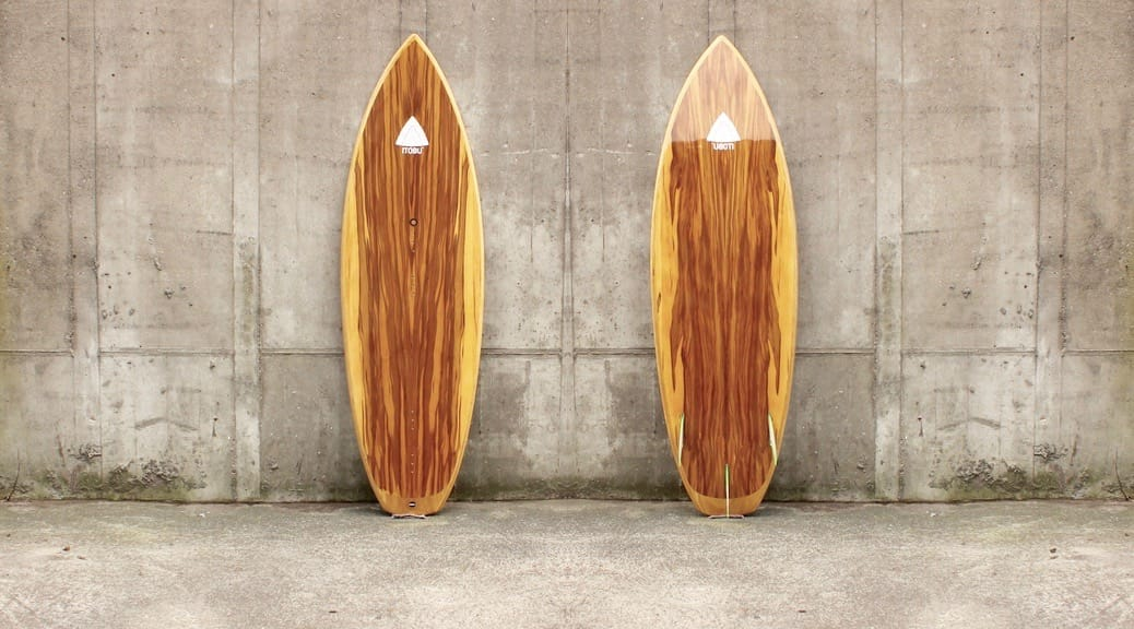 Kite-Surfboard mit Satin-Nussbaum-Furnier