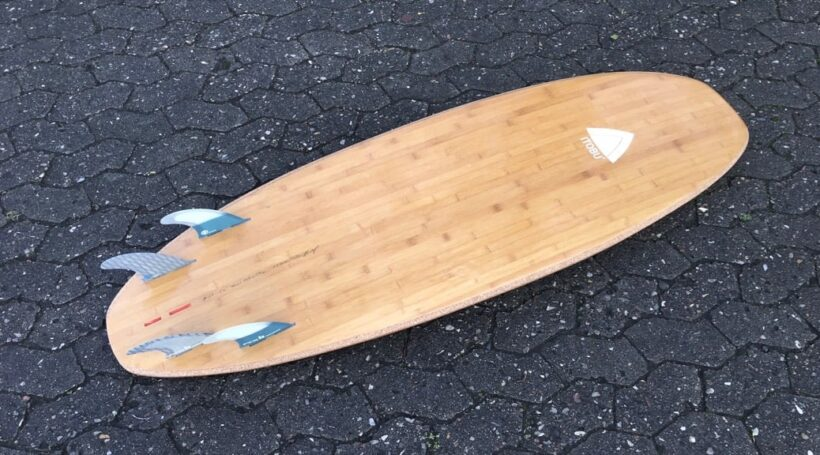 Corky - wooden surfboard with corkdeck