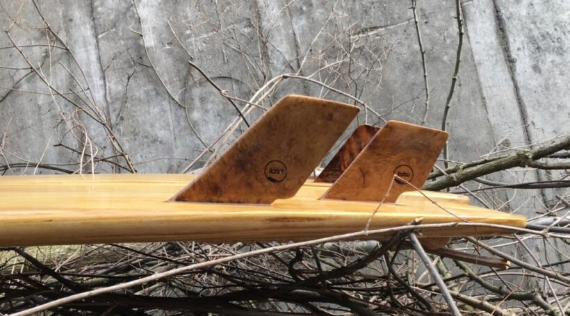 Selbstgeshapte Holzfinnen Quad-Set
